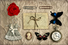 Nostalgic romantic grungy background scrapbooking Royalty Free Stock Photography
