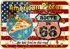 nostalgic route 66 pizza sign, Stock Photos