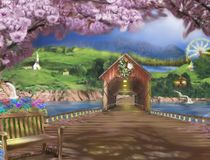 Nostalgic setting of a countryside with a long wooden bridge. A colorful countryside with a quaint chapel, a long bridge, a ferris wheel log cabins, a river and Royalty Free Stock Images