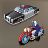 Nostalgic toys: Tin-plate toy police car and toy motorbike Stock Photography