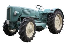 Nostalgic tractor in white back Royalty Free Stock Photography