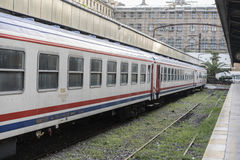 Nostalgic trains parked at Haydarpasa station for visitors, Istanbul, Turkey. March`2017. Nostalgic trains parked at Haydarpasa station for visitors, Istanbul Royalty Free Stock Photos