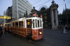 Nostalgic Trams passing through Istiklal street Stock Photography