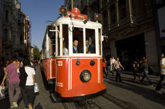 Nostalgic Trams passing through Istiklal street Stock Photo