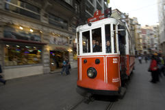 Nostalgic Trams passing through Istiklal street Royalty Free Stock Photo