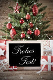 Nostalgic Tree With Frohes Fest Means Merry Christmas Stock Images