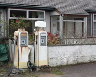 Nostalgic white filling station Stock Images