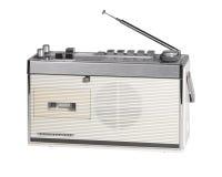 Nostalgic white radio. Studio shot of a old nostalgic radio isolated on white with clipping path Stock Image