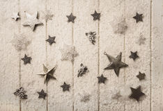 Nostalgic white silver and sepia christmas decoration with stars Royalty Free Stock Photos