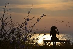 Nostalgic woman siting on a bench by the sea. Nostalgic woman silhouette siting on a bench by the sea Royalty Free Stock Photos