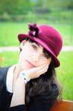 Nostalgiczna dziewczyna w parku Fotografia Royalty Free
