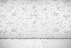 Nostalgiczny żywy izbowy projekt z rocznik różaną tapetą, światło Fotografia Stock