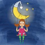 Nostalgisch jong meisje die in een schommeling slingeren die van de maan hangen Royalty-vrije Stock Foto