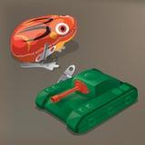 Nostalgisch speelgoed: Blikkikker en tank Stock Fotografie