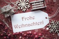 Nostalgische Dekoration, Aufkleber mit Frohe Weihnachten bedeutet frohe Weihnachten Lizenzfreie Stockbilder
