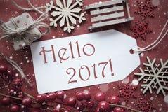 Nostalgische Kerstmisdecoratie, Etiket met Tekst Hello 2017 Stock Afbeeldingen