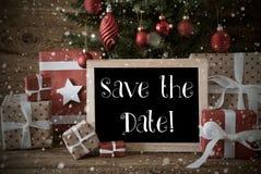 Nostalgischer Weihnachtsbaum, Schneeflocken, Text-Abwehr das Datum Stockbilder