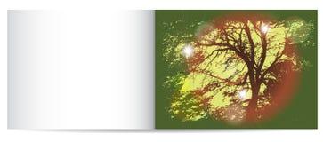 Nostalgy Karte des Herbstes mit Schattenbild des Baums lizenzfreie abbildung