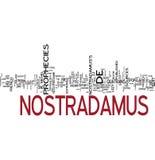 Nostradamus prophecy word collage stock photo