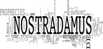 Nostradamus prophecy word collage Royalty Free Stock Images