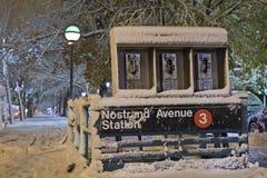 Nostrand Alleen-Station im Nor'Easter stockbild