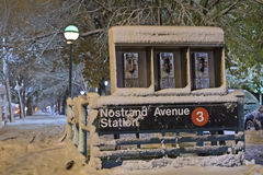 Nostrand Avenue Station in Nor'Easter. Nostrand Avenue Subway station during November Nor'easter on Eastern Parkway in Brooklyn, NY Stock Image