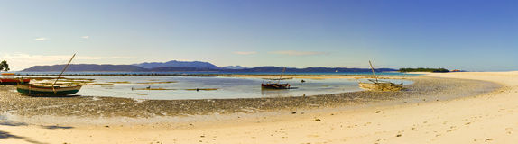 Nosy Iranja a tropical beach in Madagascar - panoramic view Royalty Free Stock Photo