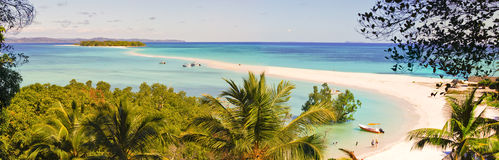 Nosy Iranja a tropical beach in Madagascar - panoramic view Royalty Free Stock Photography