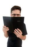 Nosy man reading Stock Image
