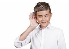 Nosy man, teenager secretly listening private conversation Stock Photo