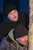 Nosy men at night Royalty Free Stock Image
