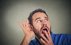 Nosy, shocked man hand to ear gesture, carefully, intently secretly listening juicy gossip Royalty Free Stock Photo