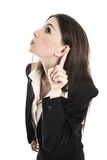 Nosy young woman listening on the door. Concept for news. Stock Photo