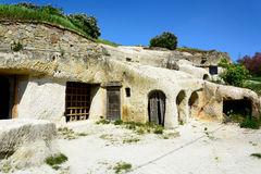 Noszvaj housing in volcanic caves Royalty Free Stock Photos