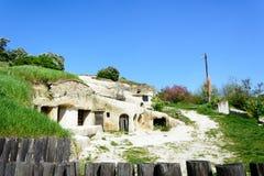 Noszvaj housing in volcanic caves Stock Photography