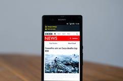 Notícia app da BBC Fotografia de Stock