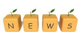 Notícia: cubos alaranjados em um fundo branco ilustração do vetor