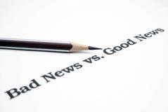 Notícia da notícia ruim vs.good Fotografia de Stock