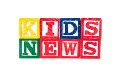 Notícia das crianças - blocos do bebê do alfabeto no branco Fotografia de Stock Royalty Free