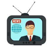Notícia do mundo Apresentador masculino da tevê (âncora) no estúdio Imagens de Stock