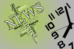 Notícia e tempo no fundo brandamente verde e cinzento Fotografia de Stock