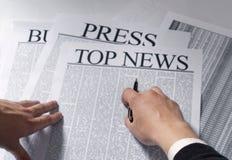 Notícia superior do jornal Imagens de Stock