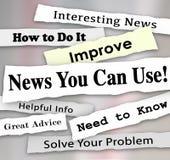 Notícia você pode usar a informação útil dos artigos do título de jornal Imagens de Stock Royalty Free