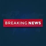Notícias de última hora com a fita vermelha no fundo pontilhado do mapa do mundo Ilustração do vetor do fundo da notícia ilustração do vetor
