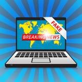 Notícias de última hora - falsificação Notícias do mundo com backgorund do mapa ilustração royalty free