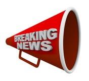 Notícias de última hora - palavras no megafone Imagens de Stock