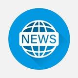 Notícias do mundo da ilustração do vetor no fundo azul Imagem lisa dentro ilustração do vetor