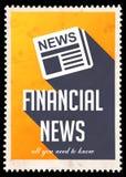 Notícias financeiras no amarelo no projeto liso Fotos de Stock Royalty Free