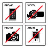 Not. Set of 4 prohibited signs - gadget Royalty Free Stock Photography