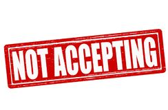 Not accepting. Stamp with text not accepting inside, illustration royalty free illustration